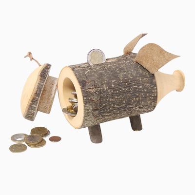 Holzspardose Schwein
